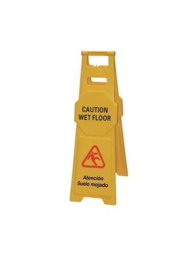 Señal grande precaución suelo mojado