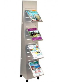 Moveable  slotted display stand, for magazines and catalogues