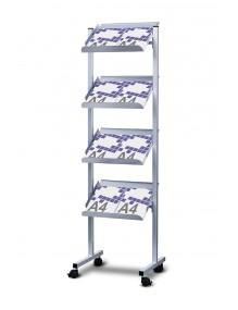 Expositor de pie para catálogos  de 4 estantes