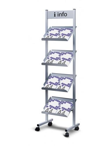 Expositor de pie para catálogos 4 estantes + rótulo