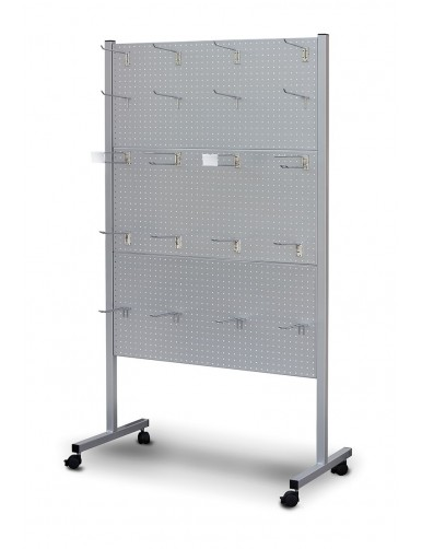 "SHOWCASE WITH PERFORATED PANELS FOR HOOKS  "" perforating series """
