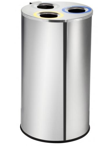 Papelera de reciclaje redonda en acero inoxidable