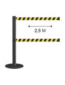 Poste separador doble cinta 2.5 metros extensible retráctil