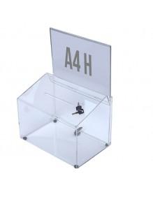 Buzón para sugerencias con soporte para cartel A4H y cerradura