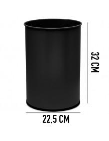 Papelera metálica  32 x 22,5 cm. ( Plata y Negro )