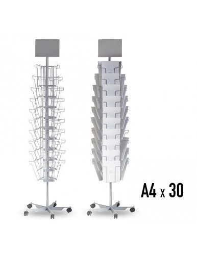 Expositor para folletos de pie giratorio 30 compartimentos A4V