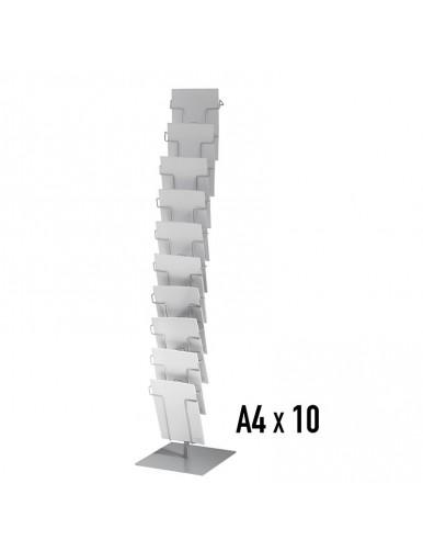 Expositor metálico para folletos de pie 10 departamentos Din A4