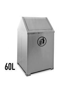 Stainless steel wastepaper basket with hinged 60 Liters