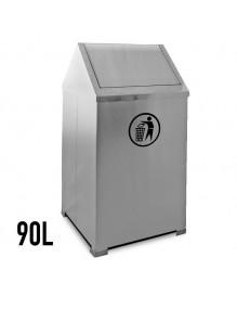 Stainless steel wastepaper basket with hinged 90 Liters