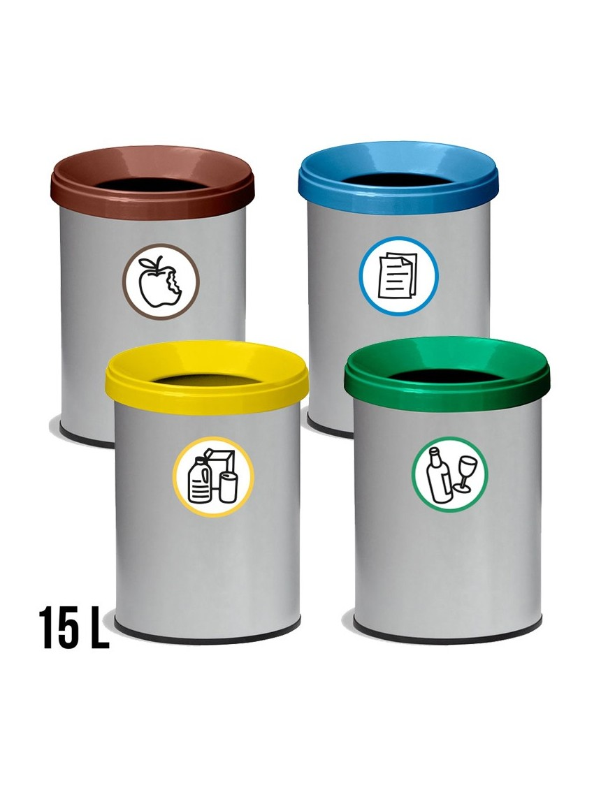 Wastepaper basket with protective ring and lid. 15 Liters - 31,5 x 26 cm.