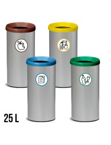 Wastepaper basket with protective ring and lid. 25 Liters.