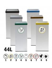 Papelera de reciclaje blanca metalica 44 Litros 71 x 25 cm. ADH2