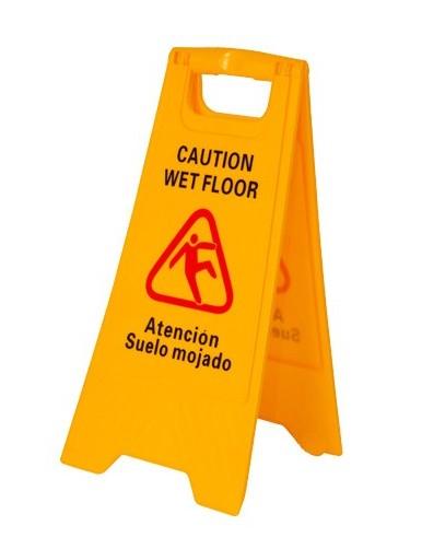 Señal precaución suelo mojado