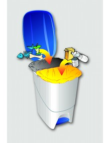 Garbage container with interior separator. 40 Liters