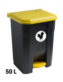 Contenedor con pedal 50 Litros con adhesivo reciclaje