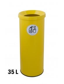 Papelera metálica 35 Litros con tapa 67,5 x 26 cm