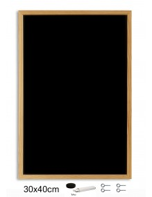 Pizarra negra con marco de madera (40 x 30 cm)