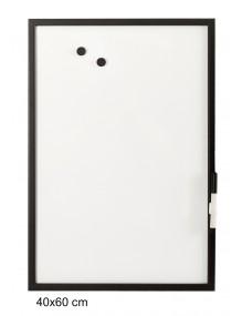 Pizarra blanca con marco color negro (60 x 40 cm)