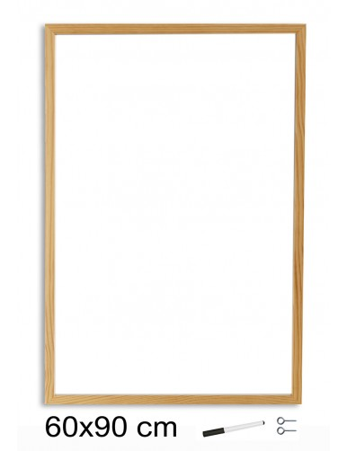Pizarra Blanca con marco de madera (60 x 90 cm)