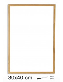 Pizarra Blanca con marco de madera (30 x 40 cm)