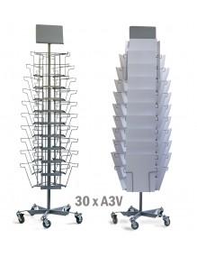Expositor de pie giratorio 30 compartimentos para Periódicos