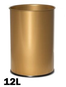 Papelera metálica 12 Litros 31,5 x 21,5 cm. Color ORO