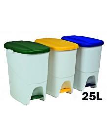 Cubo de basura con separador interior. Capacidad 25 litros
