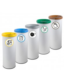 Wastepaper basket with protective ring on base. 35 Liters  - White