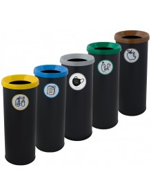 Wastepaper basket with protective ring on base. 35 Liters