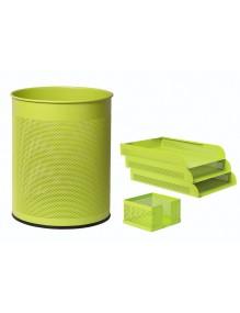 Conjunto sobremesa 3 piezas chapa perforada en color fluor