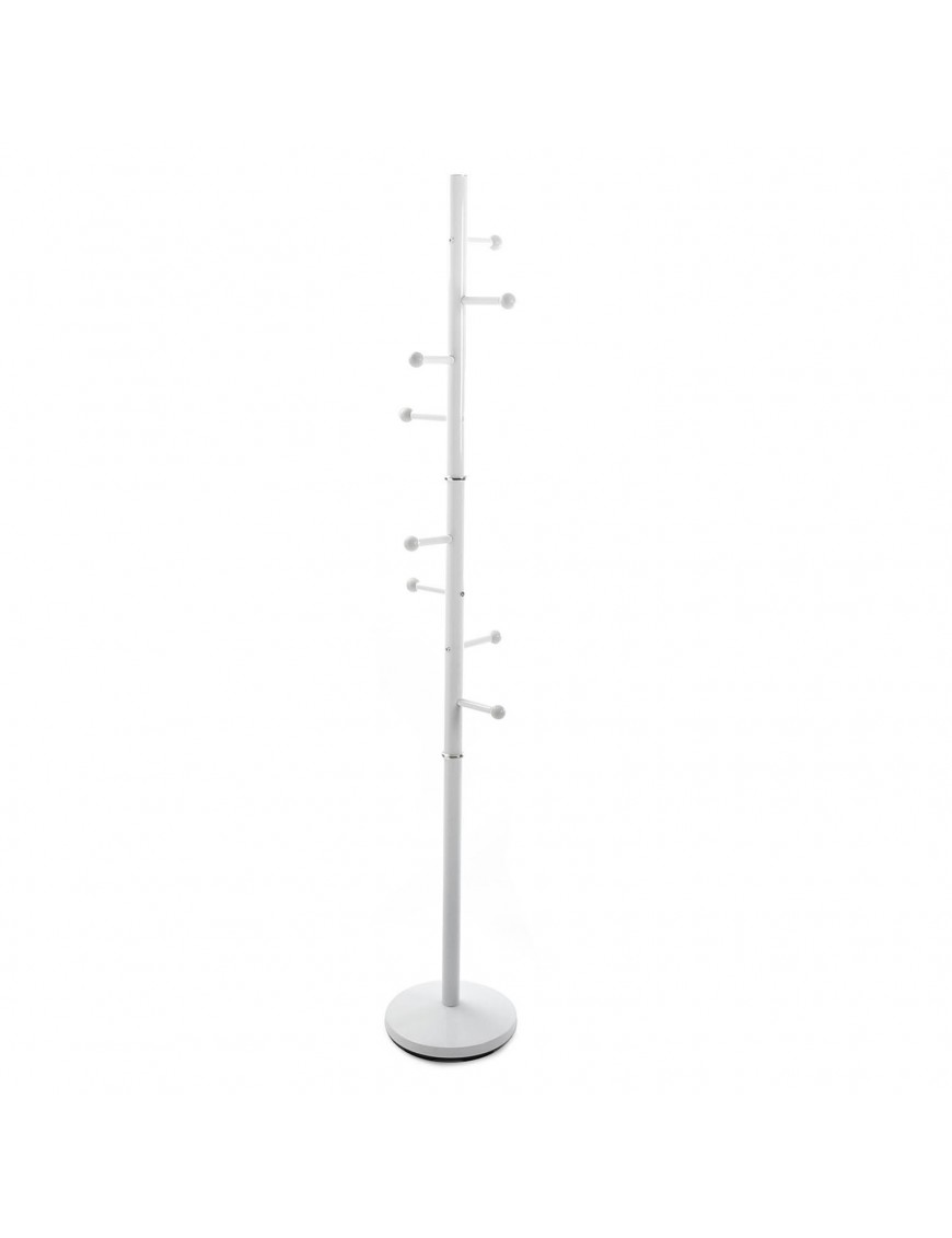 Metal coat rack with 8 hooks (White)