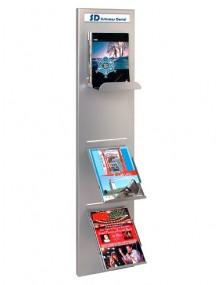 Wall-mounted slotted display stand, for magazines and catalogues