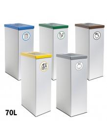 Papelera de reciclaje metálica 70 Litros color blanco