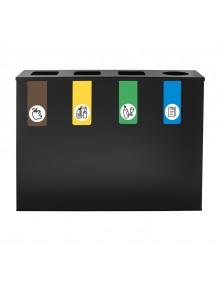 Poubelle de recyclage pour 4 déchets