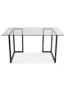 Mesa de escritorio con tablero de vidrio en color negro