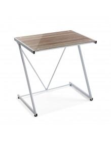 Mesa de escritorio con tablero de vidrio en color blanco