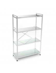 Estantería con 4 estantes de vidrio (Blanca)
