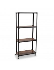 Estantería metálica móvil con 4 estantes de madera
