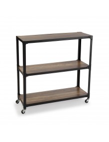 Mobile metal shelf with 3 wooden shelves