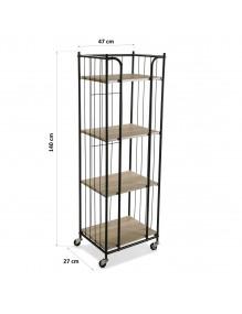 Mobile metal shelf with 4...