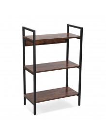 Estantería metálica con 3 estantes de madera