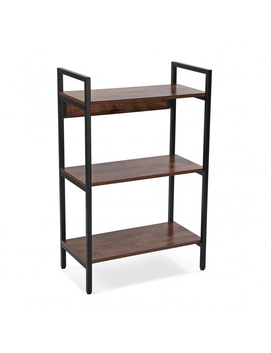 Metal shelf with 3 wooden shelves