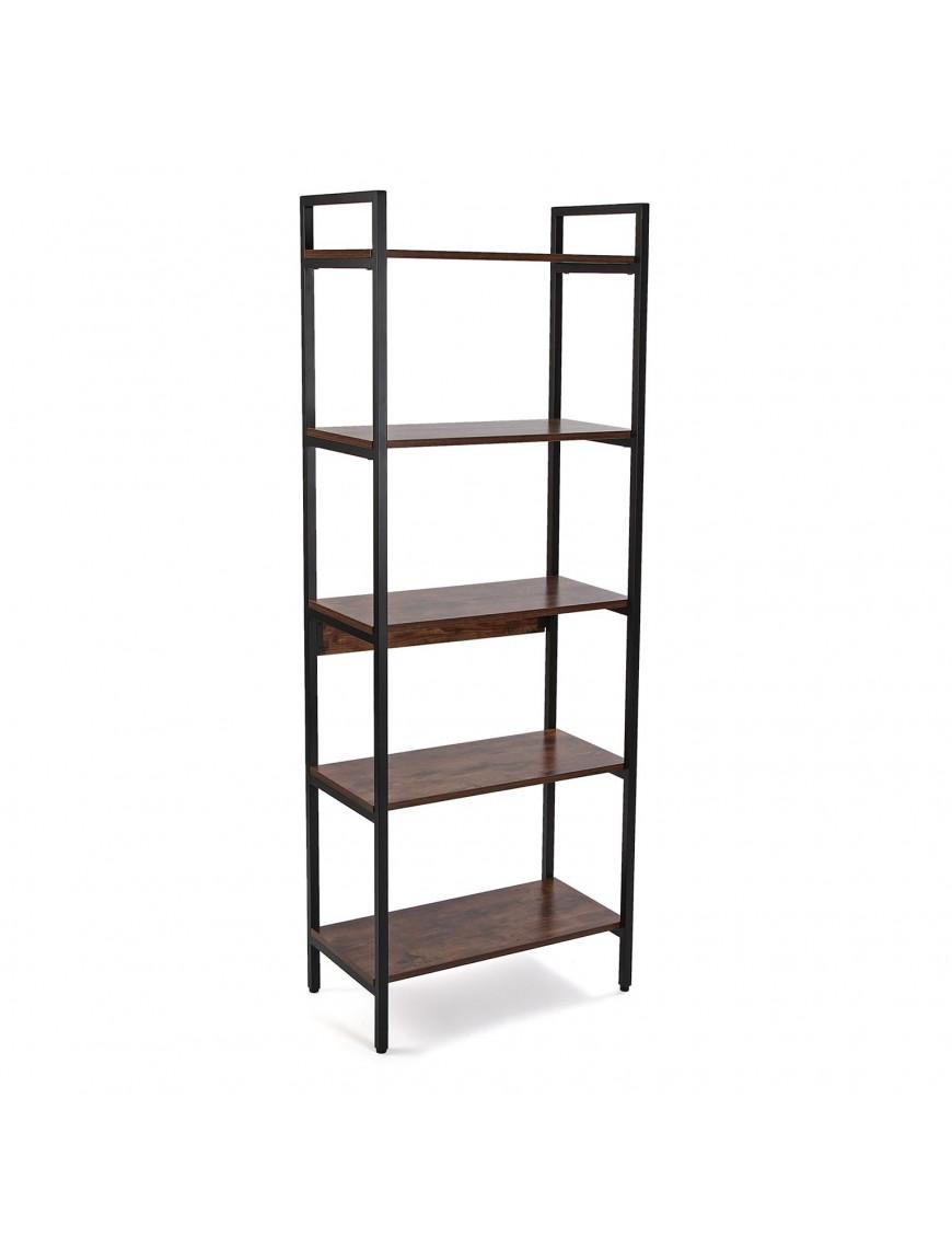 Metal shelf with 5 wooden shelves
