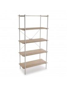 Estantería metálica con 5 estantes de madera (Color Blanco)