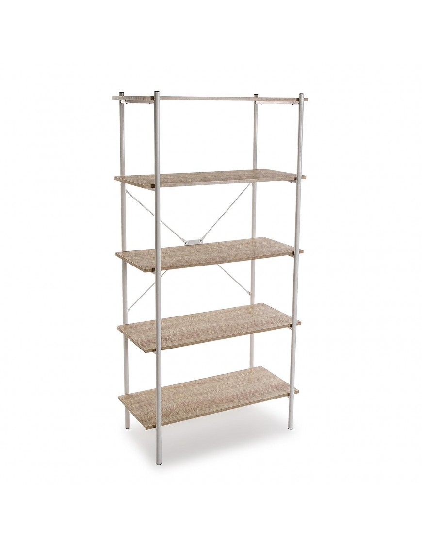 Metal shelf with 5 wooden shelves (White color)