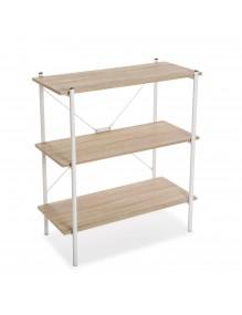Estantería metálica con 3 estantes de madera (Color Blanco)