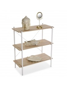 Metal shelf with 3 wooden shelves (White color)