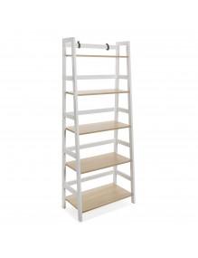 Estantería metálica con 5 estantes de madera. Modelo Tokio