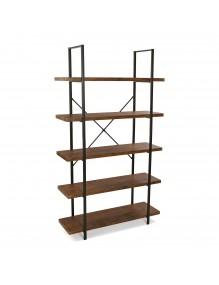 Estantería metálica con 5 estantes de madera (Negro)