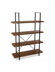 Estantería metálica con 4 estantes de madera (Negro)